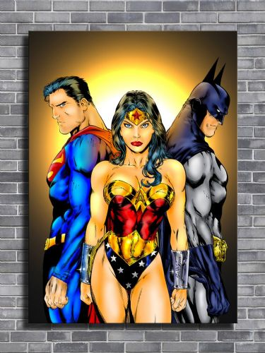 SUPERMAN - JUSTICE 3 BATMAN & WONDER WOMAN / canvas print - self adhesive poster - photo print
